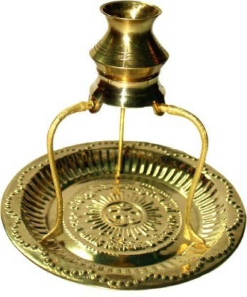 Shiv Brass Pooja Plate Thali with Shivling Stand and Abhishek Lota Kalash Brass Brass