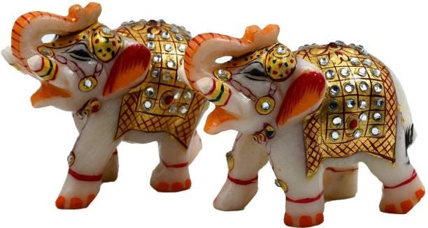 Natali Traders Natali Pack of 2 DEcorative Marble Elephants Showpiece for Home Decor, Office Gift Item, Wall, Shelf, Table Desktop, Living Room, Garden Decoration, Diwali Gift Item Decorative Showpiece  -  7.5 cm