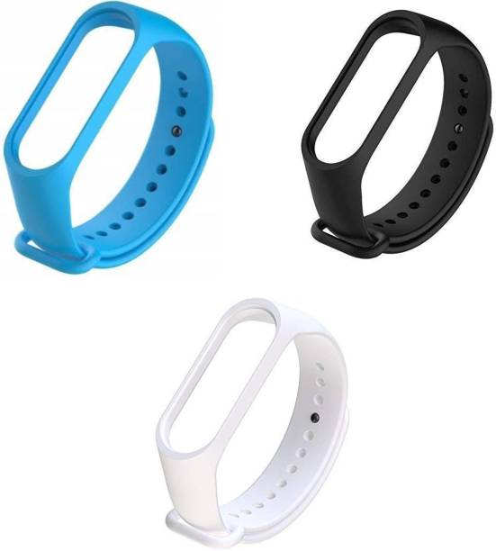Razzo Soft Silicon Replacement Band Strap for MI Band 3 & 4 - Azure Blue , Black & White Smart Watch Strap