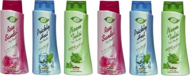 MEGHDOOT Neem Tulsi 100gx2,Prickly Heat 100gx2,And Rose Sandal Talc Powder 100gx2 (Pack of 6)