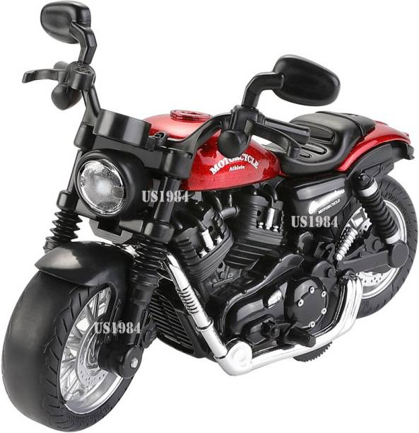US1984 Die-Cast Metal Sport Bike Metal Bike Pull Back with Movable Steering, Light and Music Great Gift for Boys and Girls Above 4 Years Old Best Gift