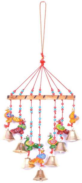 ROYAL ARTS & CRAFTS Home Decor Wooden Handpainted and Handmade Hanging Wind Chimes Pieces (Multicolour, 45 cm) Plastic Windchime