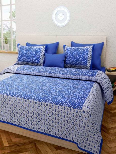 Guru Creation 160 TC Cotton Double Jaipuri Prints Bedsheet