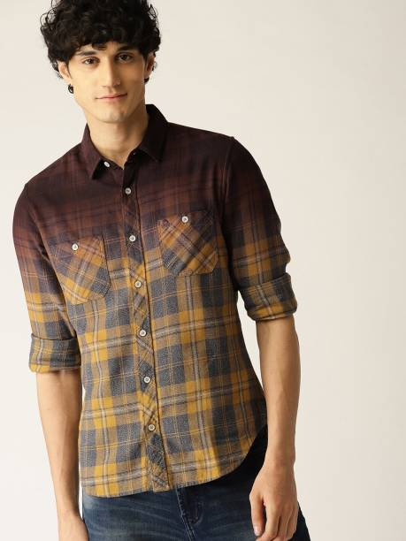 United Colors of Benetton Men Checkered Casual Yellow Shirt
