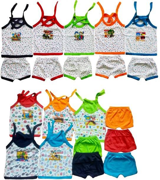 Sonpra NEW BORN BABY COTTON UPPER DORI JHABLAS SHORTS BABY CLOTHS COMBO SET (0 -3 MONTHS)