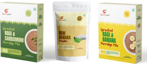Nutribud Foods Baby Combo (Pack of 3) -- Sprouted Ragi & Banana Porridge Mix, Sprouted Ragi & Cardamom Porridge Mix & Raw Banana Powder Cereal