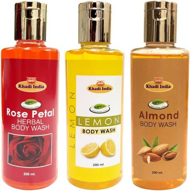 khadi natural herbal Rose Petal Body Wash - Lemon Body Wash & Almond Body Wash (Pack of 3)