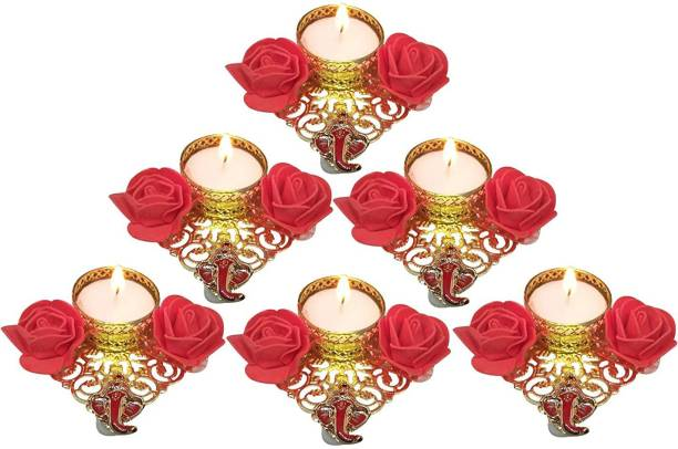 Gaurangi Candles for Deepawali Decorations with Red flower and Ganesha (pack of 6) Candle