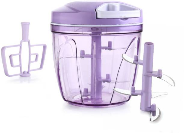 AERIAL KITCHENWARE Turbo Chopper, Cutter, Whisker, Mixer for Kitchen, 5 Stainless Steel Blade + Whisker Blade,Purple,900 ML Vegetable Chopper Vegetable & Fruit Chopper Vegetable Chopper