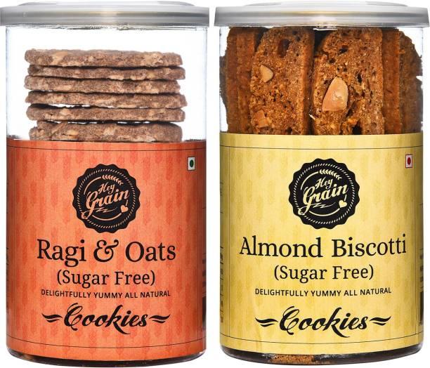 Hey Grain Ragi & Oats Sugar Free Cookies & Almond Biscotti Sugar Free Cookies Combo Cookies
