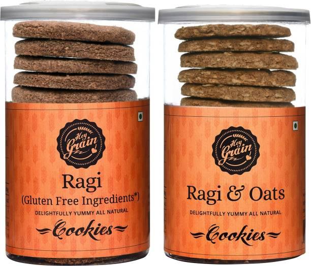 Hey Grain Ragi Gluten Free Cookies + Ragi & Oats Cookies Combo Cookies