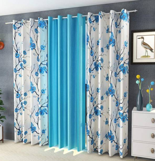 Galaxy Home Decor 153 cm (5 ft) Polyester Window Curtain (Pack Of 3)