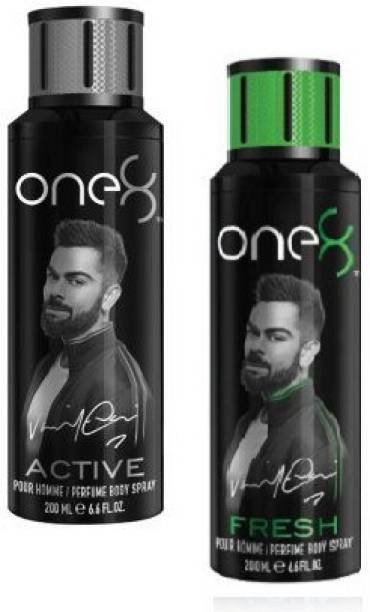 one8 by Virat Kohli Active + Fresh Body Spray 200ml - 2Pcs SA20 Body Spray  -  For Men