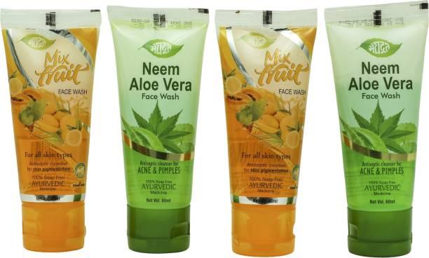 MEGHDOOT Neem Aloevera 60mlx2 & Mix Fruit  60mlx2 (Pack of 4) Face Wash
