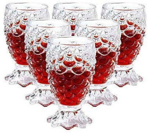 kristalglass (Pack of 6) Gifts & Decor (Pack of 6) Crystal Clear Pineapple Shaped Juice, Drinking Glass Set of 6 Pieces, 250ml Each Glass Set (250 ml, Glass) Glass Set