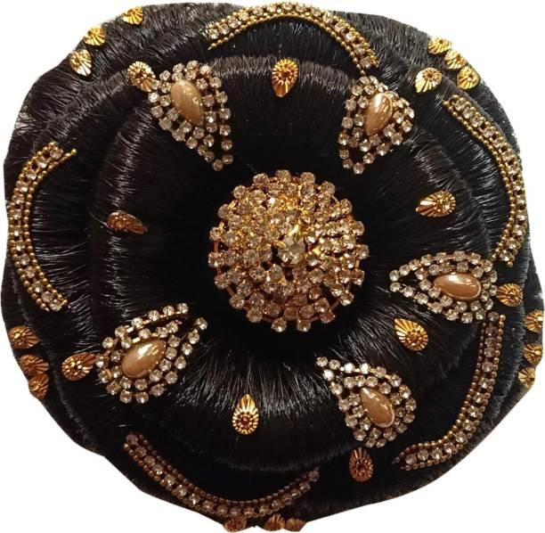 Gauri Uma Hair Style  decorated juda Stud Work Hair Extension