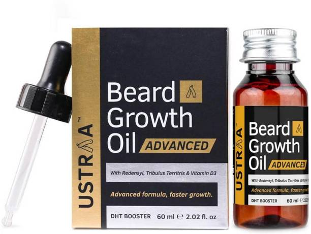 USTRAA Beard Growth Oil Advanced - 60ml - Beard Growth Oil for Patchy Beard, With Redensyl and DHT Booster, Nourishment & Moisturization, No Harmful Chemicals Hair Oil
