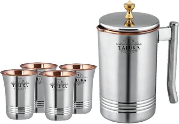 TALUKA 1.5 L Water Copper Master Steel Copper Jug Pitcher with Brass Knob & 4 Glass, Serveware & Tableware, 5 Pieces Jug Glass Set (Copper) Jug