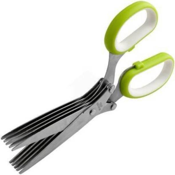 Rudra Enterprise 5 Blade Vegetable Scissor - Multi-Function 5 Blade Vegetable Stainless Steel Herbs Scissor Steel All-Purpose Scissor
