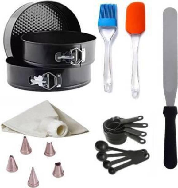 Flipkart SmartBuy BAKEWARE COMBO 1- 3 Pc Spring form. MEASURING SPOON,1 Palette Knife,1 BRUSH SPATULA,NOZZLE SET Kitchen Tool Set