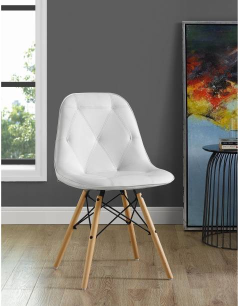 Finch Fox Manor Park Modern Eames Iconic Chairs in White Colour Leatherette Living Room Chair