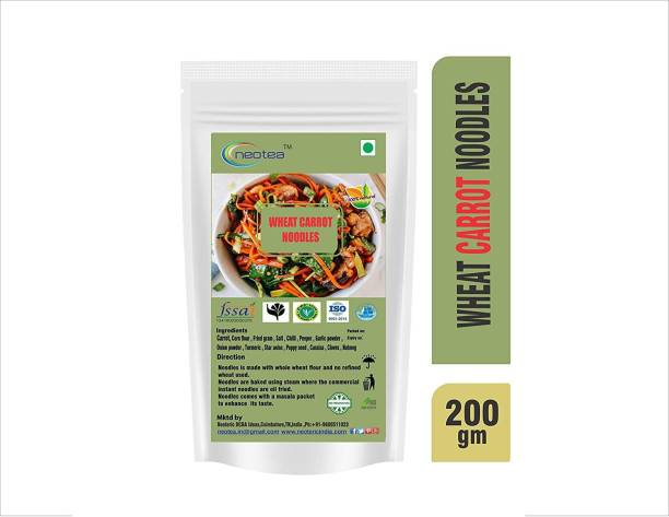 Neotea Homemade Wheat Noodles (Wheat Carrot) 200gm Each Pack of 3 ( Total 600 g ) Instant Noodles Vegetarian