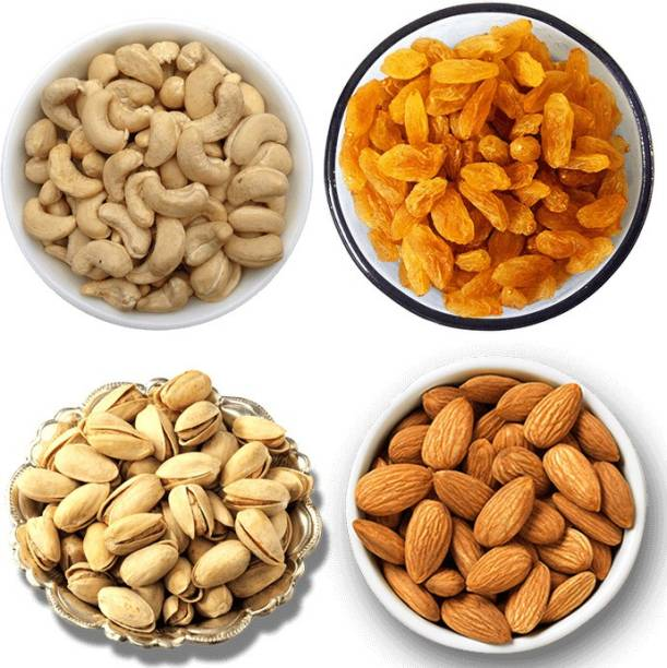 froods Dry Fruits Combo Pack, 250G Almonds, 250G Raisins, 250G Pista, 250G Cashew - 1KG Pistachios, Almonds, Raisins, Cashews