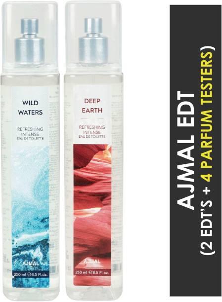 Ajmal Wild Waters & Deep Earth + 4 Parfum Testers Eau de Toilette  -  500 ml