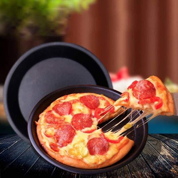 THE DOT COM 8inch Round Pizza Pan Tray Carbon Steel Teflon Coated Non-Stick Oven Pizza Plate pan (Black) Pizza Maker