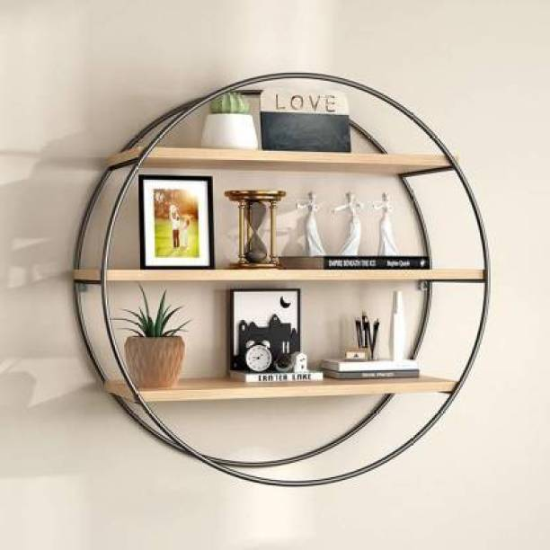 Flipkart Perfect Homes Wall Shelf Rustic Wood Floating Shelves,Decorative Wall Shelf for Bedroom, Living Room, Bathroom, Kitchen, Office and More Wooden, Iron Wall Shelf Iron Wall Shelf