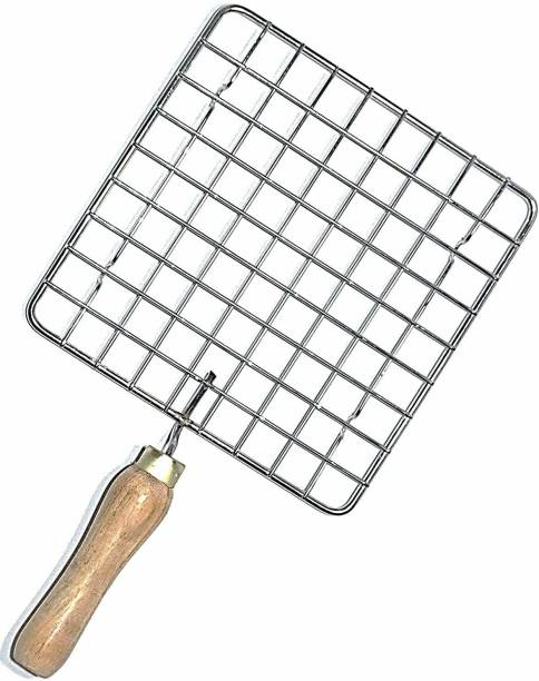 TruVeli Stainless Steel Roaster Tandoori Paneer Roti Roaster Net Jali Papad Jali Barbecue Grill with Wooden Handle - Square 1 kg Roaster