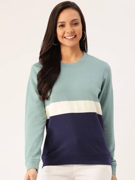 Dressberry Full Sleeve Color Block Women Sweatshirt
