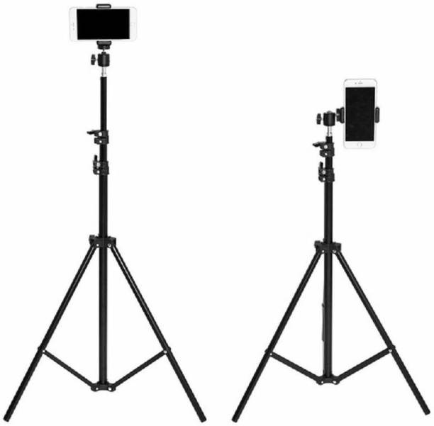 royality Lightweight & Portable Portable 7 Feet (84 Inch) Long Tripod Stand with Adjustable Mobile Clip Holder for All Mobiles & Cameras (Black) Tripod