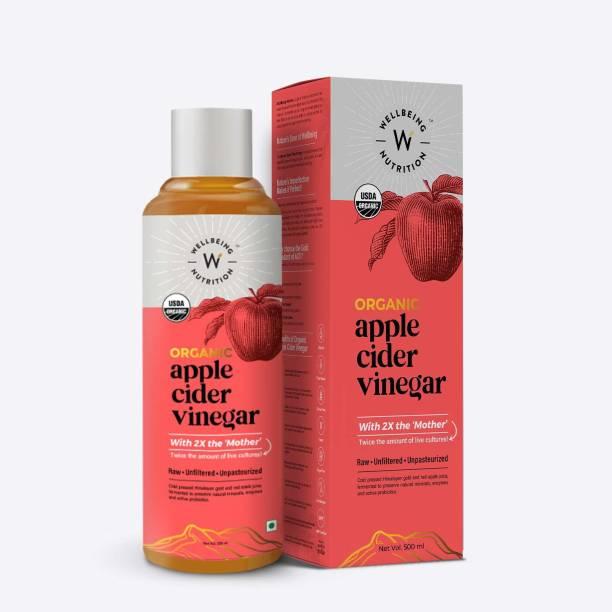 Wellbeing Nutrition USDA Organic Apple Cider Vinegar supports Weight Loss, Immunity Booster, Cholesterol Control, Acidity Control Vinegar