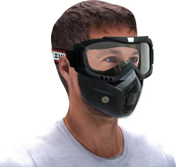 Steelbird 7Wings 3 in 1 Face Shield,Goggles with Detachable Mask, Full Face Protection Motorbike Helmet