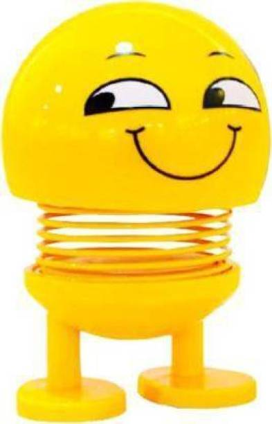 DEE GEE Smiley Emoji, Spring Doll,Shaking Toy for Car Dashboard,& Decoration 7 cm (Yellow)