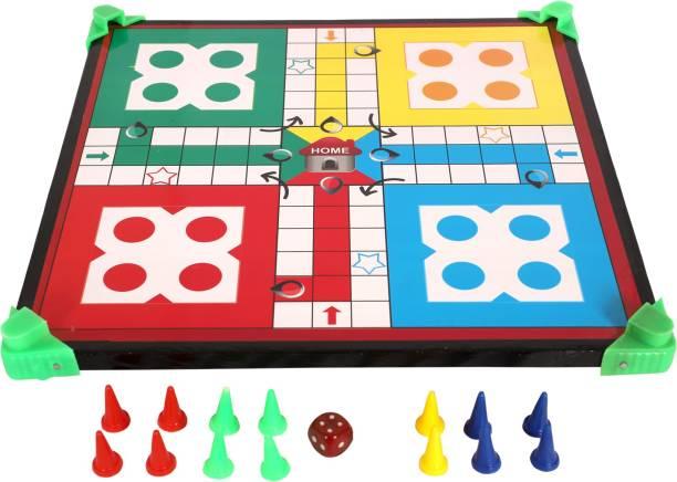 TEFARAH DECOR WOODEN LUDO SNAKE& LADDER BOARD GAME-MULTICOLOR-(2 IN 1) Party & Fun Games Board Game