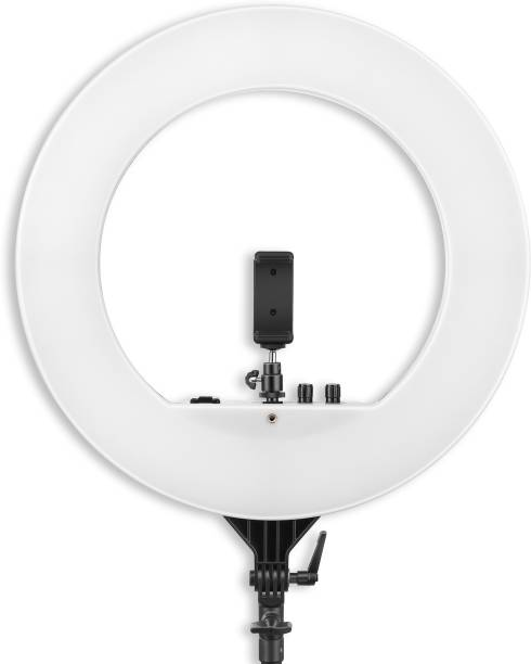 DIGITEK Professional 18 inch big LED Ring Light with 2 color modes Dimmable Lighting | For YouTube | Photo-shoot | Video shoot | Live Stream | Makeup & Vlogging | Compatible with iPhone/ Android Phones & Cameras (DRL 18H) 5000 lm Camera LED Light