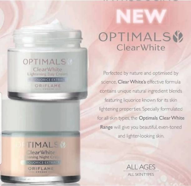 Oriflame optimals clear white lightning day and night cream set