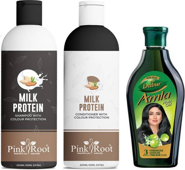 PINKROOT Milk Protein Shampoo, Conditioner With Dabur Amla Hair Oil