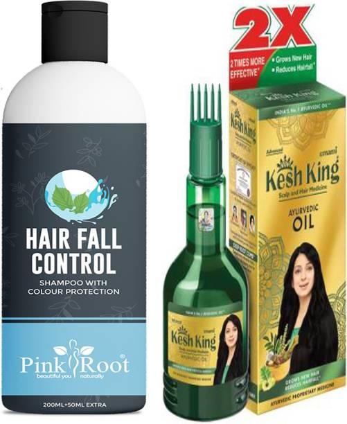 PINKROOT Hair Fall Control Shampoo With Emami Kesh King Ayurvedic Oil 100ml