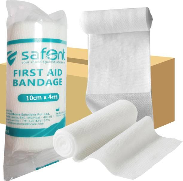 safent First Aid Bandage - 4 Inch - (10cm*4M) (Set Of 8) Crepe Bandage