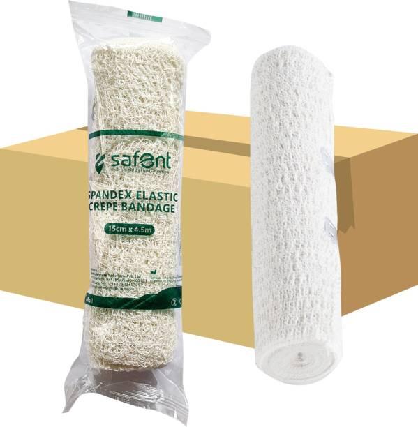 safent Spandex Elastic Crepe Bandage (Natural White Color) - 6 Inch - (15cm*4.5M) (Set Of 8) Crepe Bandage