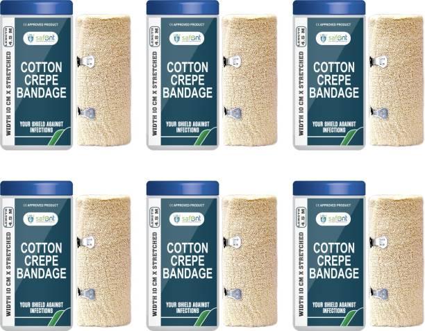 safent Cotton Crepe Bandage - 4 Inch - (10cm*4.5M) (Set Of 6) Crepe Bandage