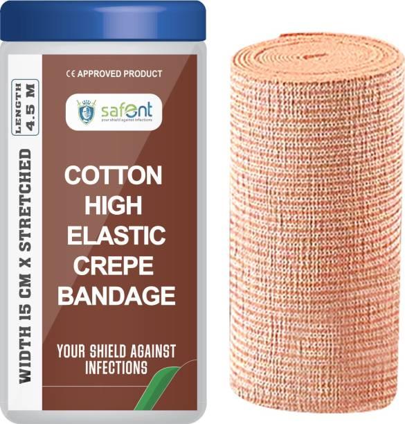 safent Cotton High Elastic Bandage - 6 Inch - (15cm*4.5M) (Set Of 1) Crepe Bandage
