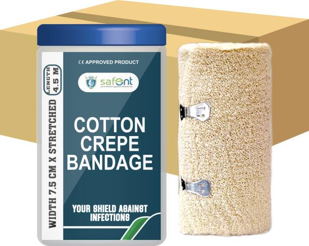 safent Cotton Crepe Bandage - 3 Inch - (7.5cm*4.5M) (Set Of 8) Crepe Bandage