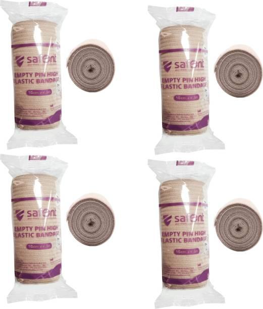 safent Skin Color Empty Pin High Elastic Bandage - 4 Inch - (10cm*4.5M) (Set Of 4) Crepe Bandage