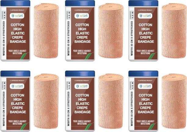 safent Cotton High Elastic Bandage - 4 Inch - (10cm*4.5M) (Set Of 6) Crepe Bandage