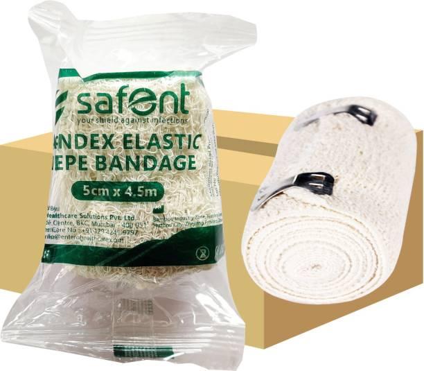 safent Spandex Elastic Crepe Bandage (Natural White Color) - 2 Inch - (5cm*4.5M) (Set Of 8) Crepe Bandage
