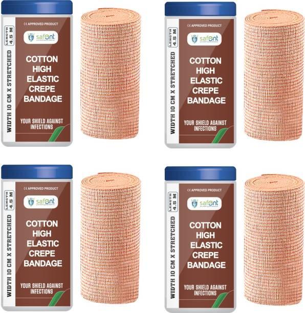 safent Cotton High Elastic Bandage - 4 Inch - (10cm*4.5M) (Set Of 4) Crepe Bandage